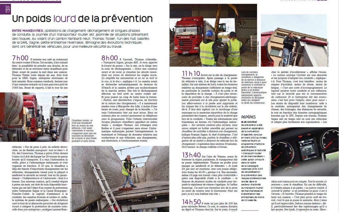 Article dans le mensuel «Travail et Sécurité» de février 2016